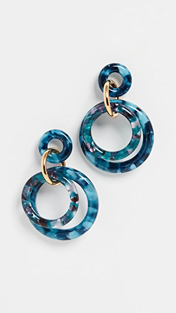 Lele Sadoughi Golden Double Ring Earrings
