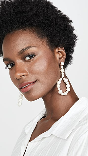 Lele Sadoughi Drop Hoop Freshwater Pearl Earrings