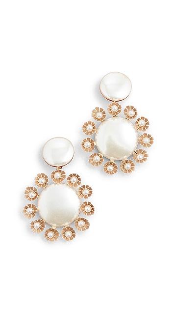 Lele Sadoughi Round Earrings with Plumeria Trim