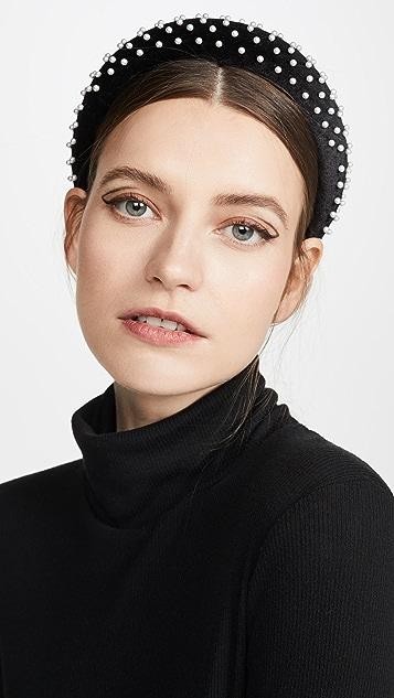 Lele Sadoughi Velvet Pearl Padded Headband