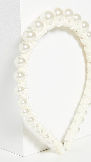 Lele Sadoughi Обруч из нитей жемчуга разного размера