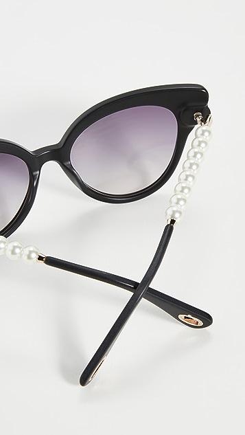 Lele Sadoughi Солнцезащитные очки с декоративной отделкой искусственным жемчугом