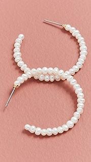Lele Sadoughi Imitation Pearl Medium Hoops