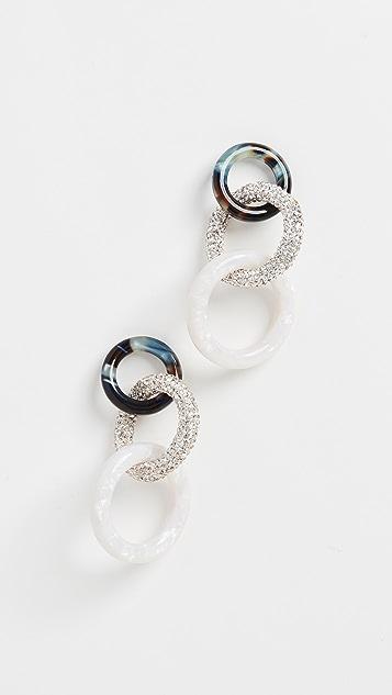 Lele Sadoughi 醋酸酯和水晶三重圈式耳环