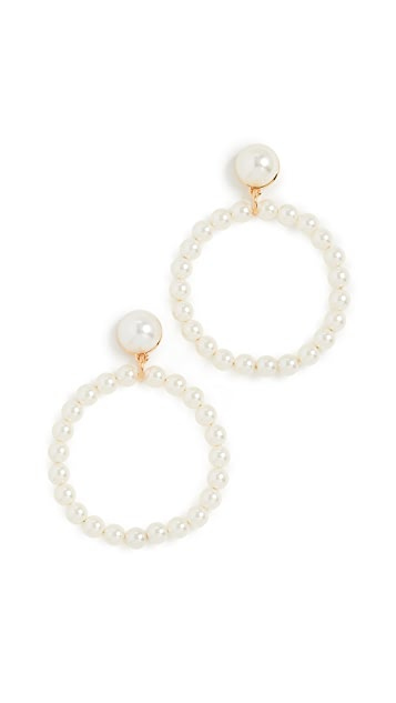 Lele Sadoughi Frontal 人造珍珠圈式耳环