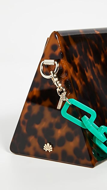 Lele Sadoughi Tortoise Tent Bag with Malachite Green Matinee Chain Strap