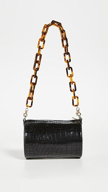 Lele Sadoughi Black Croc Barrel Bag with Tortoise Shoulder Chain Strap
