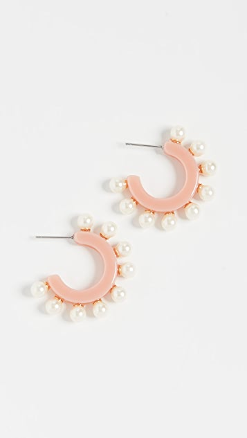 Lele Sadoughi 人造珍珠贴耳耳环