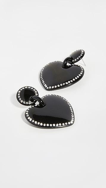 Lele Sadoughi 珠宝镶嵌缝线心形耳环
