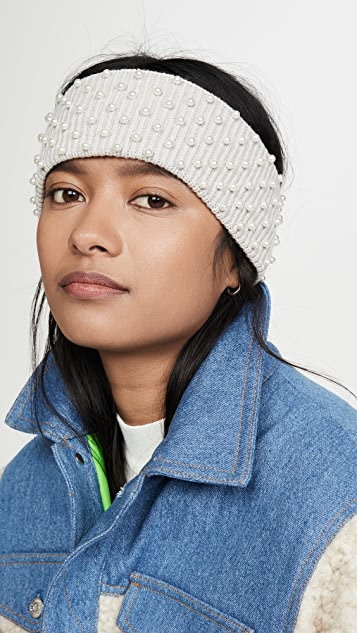 Lele Sadoughi Knit Ear Warmer with Imitation Pearls
