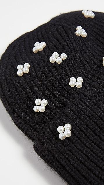 Lele Sadoughi 簇状珍珠针织帽