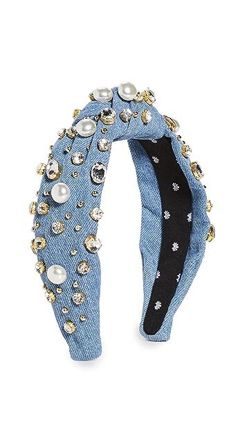 Lele Sadoughi Denim Imitation Pearl & Crystal Oversized Headband