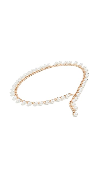 Lele Sadoughi Dangling Imitation Pearl Chain Belt