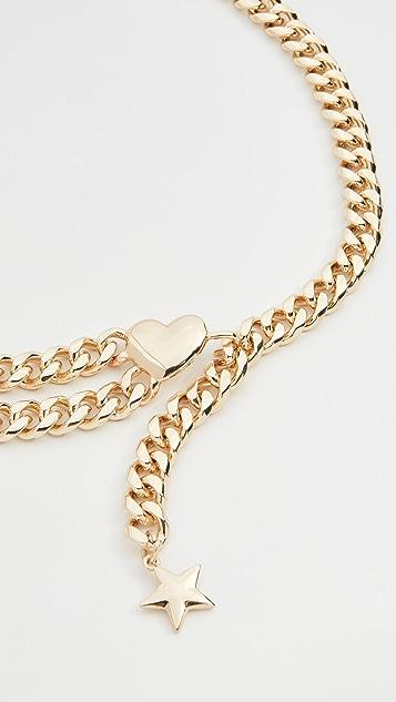 Lele Sadoughi Lucky Charm Double Chain Belt