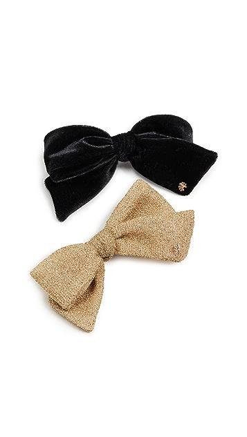 Lele Sadoughi Set of Two Ribbon Bow-Tie Barrettes