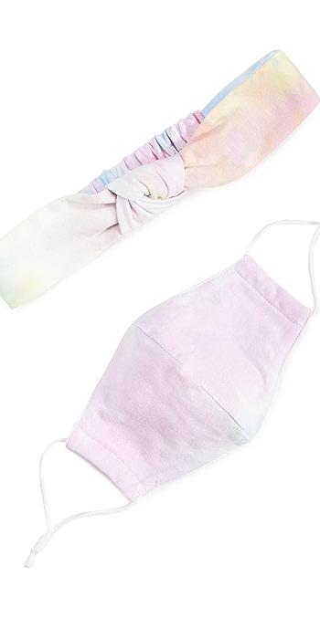 Lele Sadoughi Face Covering and Headband Set - Tie Dye