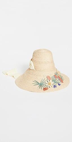 Lele Sadoughi - Embroidered Straw Hat