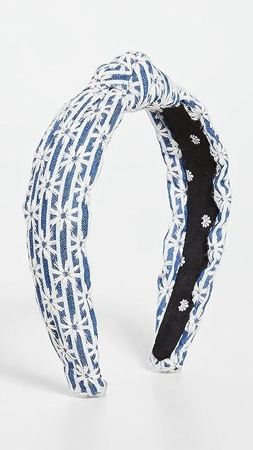 Lele Sadoughi Striped Daisy Slim Knotted Headband