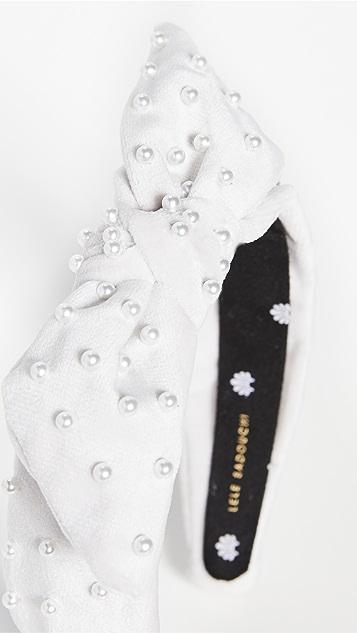 Lele Sadoughi 天鹅绒珍珠蝴蝶结细绑带结饰发带