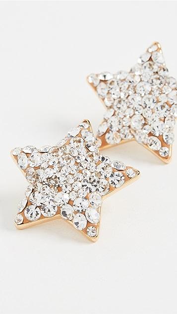 Lele Sadoughi 珠宝镶嵌星星纽扣耳环
