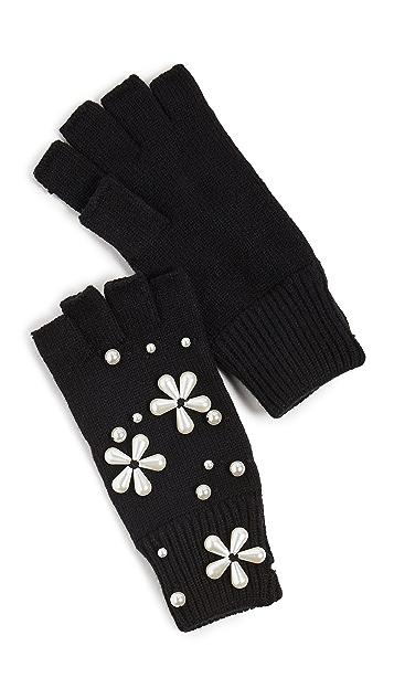 Lele Sadoughi Imitation Pearl Snowflake Fingerless Knit Gloves
