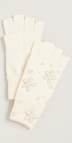 Lele Sadoughi - 人造珍珠雪花连指针织手套