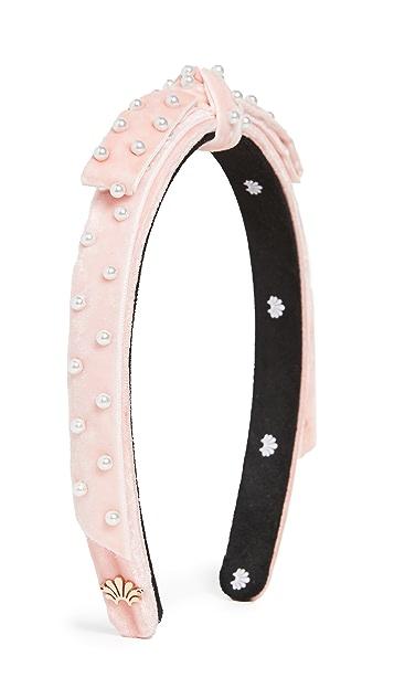 Lele Sadoughi Acrylic Pearl Bardot Ribbon Slim Headband