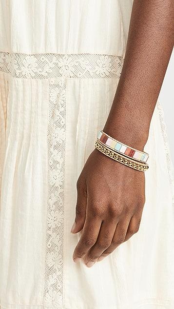 Lele Sadoughi Stacked Stone Cord Bracelet