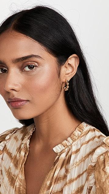 Lele Sadoughi Beaded Huggie Hoop Earrings