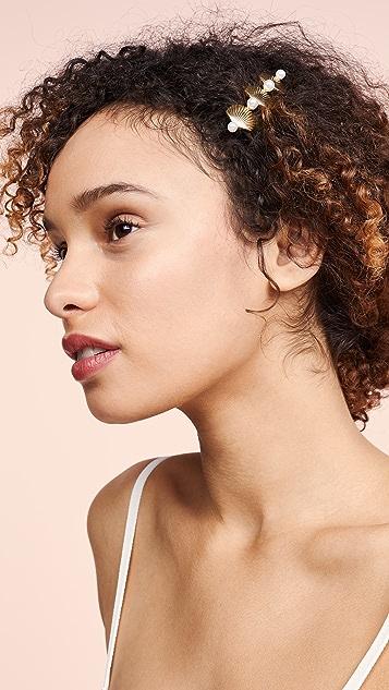 LELET NY Длинная заколка для волос с ракушками и перламутром
