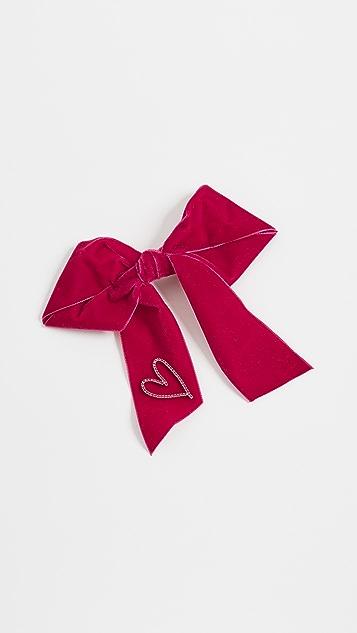 LELET NY Заколка для волос с бантом, украшенным сердцем из кристаллов