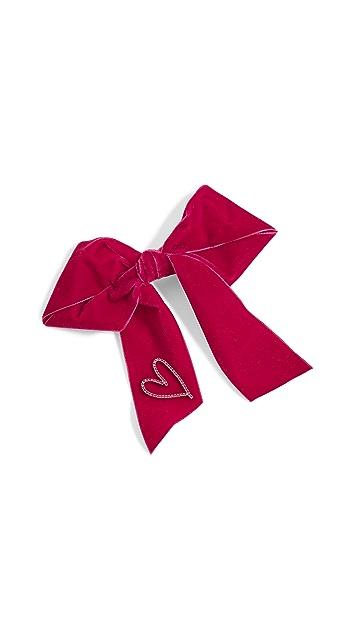 LELET NY Crystal Heart Bow Barrette