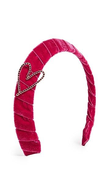 LELET NY Velvet Headband With Crystal Heart
