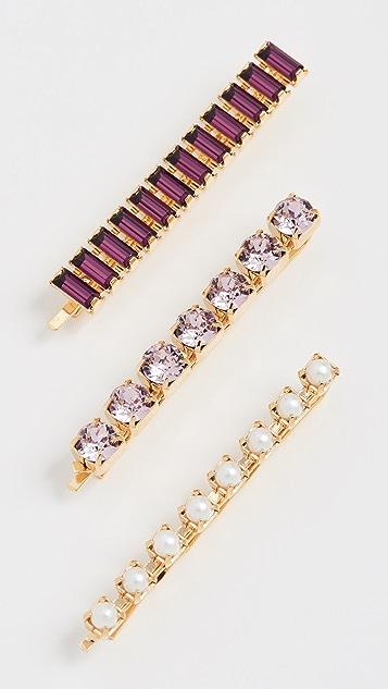 LELET NY Набор заколок-невидимок с фиолетово-розовыми кристаллами