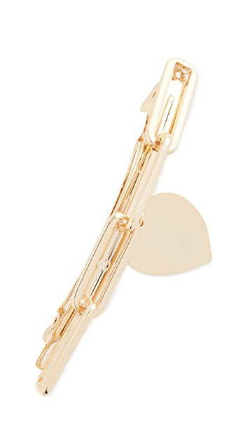 LELET NY Link Chain Barrette with Heart Charm