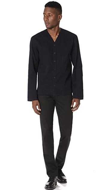 Lemaire V Neck Collar Long Sleeve Shirt