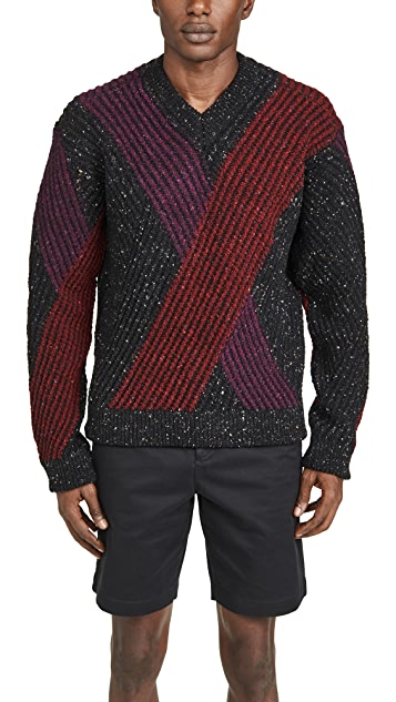 Lemaire V Neck Jacquard Sweater