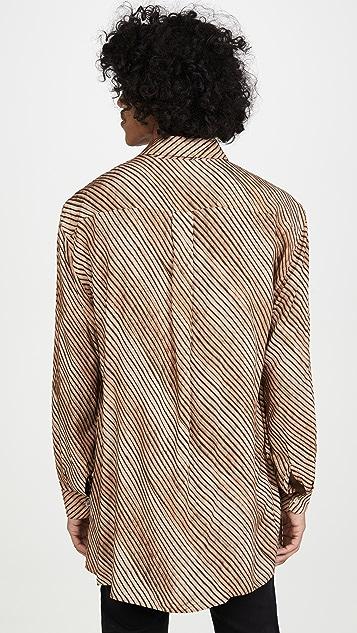 Lemaire Diagonal Print Straight Collar Shirt