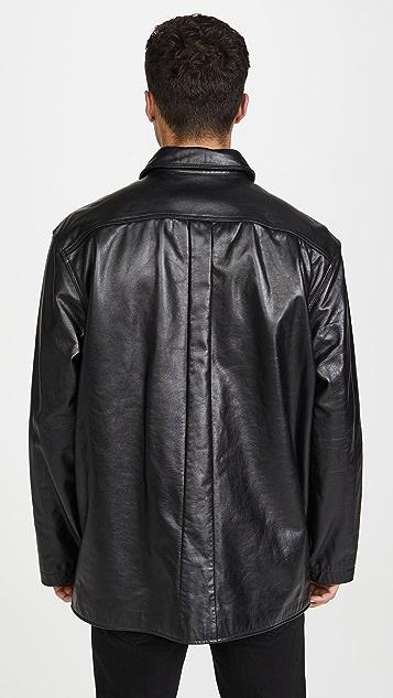Lemaire Leather Shirt Jacket