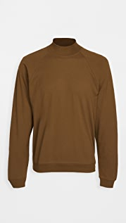 Lemaire Crepe Mock Neck Long Sleeve Tee