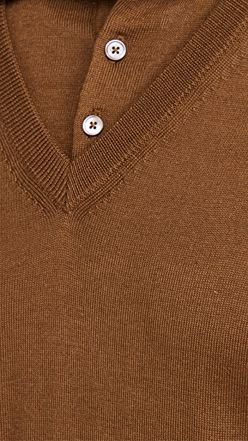 Lemaire Knitted V Neck Polo Shirt