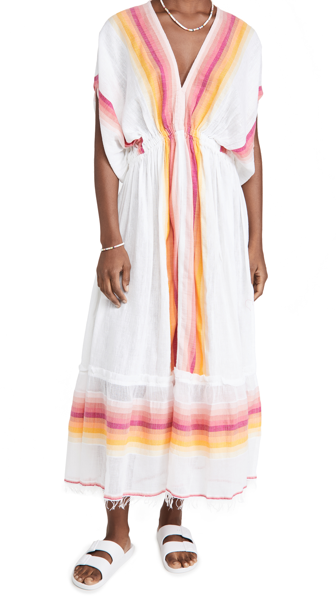Lemlem Teref Plunge Neck Dress