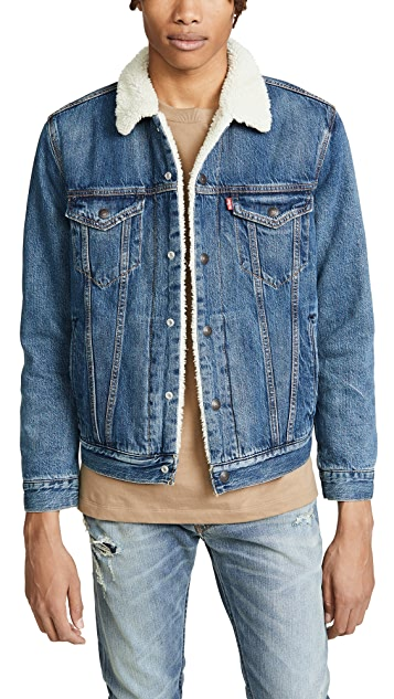 Levi's Red Tab Medium Wash Sherpa Trucker Denim Jacket