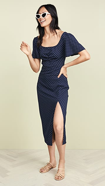 leRumi Audrey Midi Dress - Navy Polka Dot