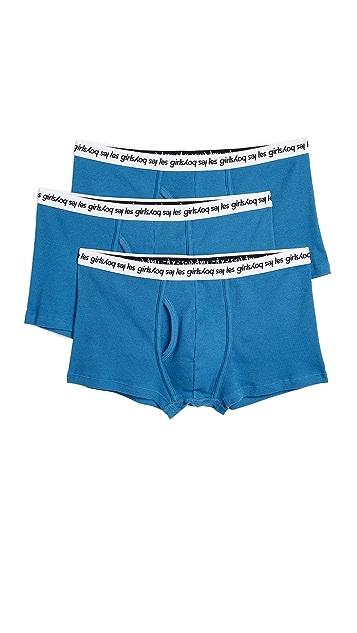 Les Girls Les Boys 3 Pack Ribbed Jersey Trunks
