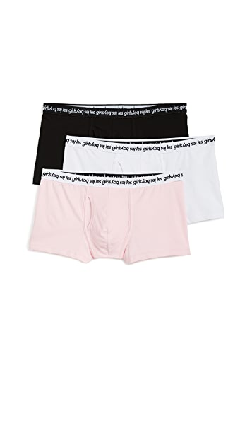 Les Girls, Les Boys 3 Pack Single Jersey Trunks