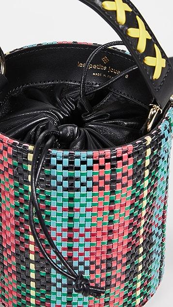 les petits joueurs Baby Olivia Woven Tartan Bucket Bag