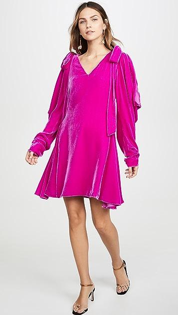 LES REVERIES Bow Shoulder Velvet Mini Dress