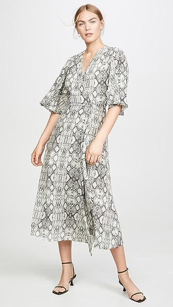 LES REVERIES Flutter Sleeve Long Wrap Dress