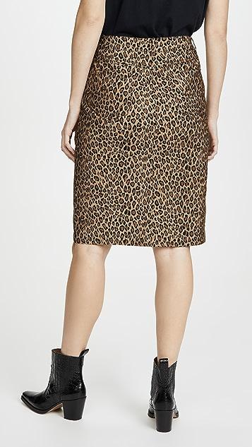 LES REVERIES Leopard Pencil Skirt